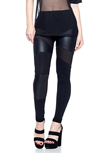J2 LOVE Faux Leather and Mesh Detail Moto Legging ()