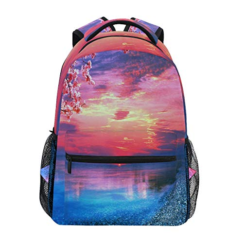 Women/Man Canvas Backpack Special Cherry Blossoms Beach In The Sunset Zipper College School Bookbag Daypack Travel Rucksack Gym Bag For Youth