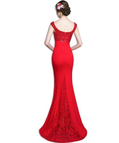 KAXIDY Largos de Encaje Mujer Vestido Vestidos Elegante Vestidos Noche Vestidos Rojo Novia rrZaqRw5c