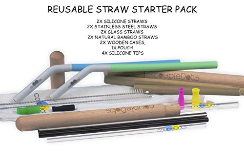 coupleDots Reusable Drinking Straw Starter Sample Pack - Travel Mix Set  with 2x Stainless Steel Metal, 2x Silicone, 2x Glass and 2x Natural Bamboo