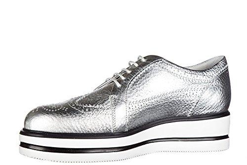 Hogan Damenschuhe Leder Damen Business Schuhe Schnürschuhe h323 zeppa derby Silb