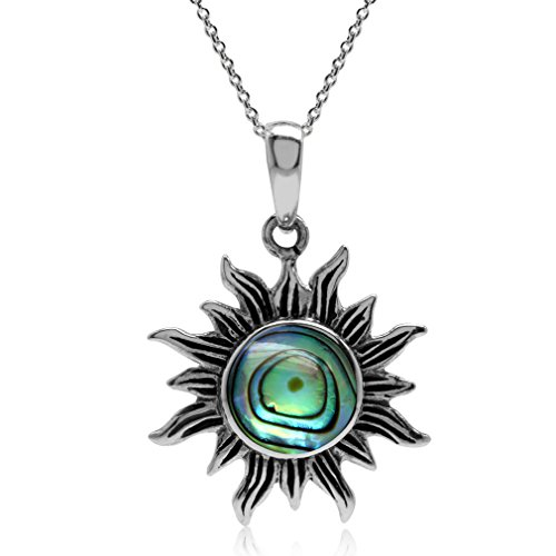 Silver Paua Shell Necklace - Abalone/Paua Shell Inlay 925 Sterling Silver Sun Pendant w/ 18 Inch Chain Necklace