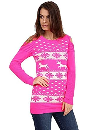 bce9e88ad94491 Womens Round Neck Long Sleeve Cut Out Shoulder Christmas Print Knitted  Jumper Dress (REINDEER SNOWFLAKES) RED/12: Amazon.co.uk: Clothing