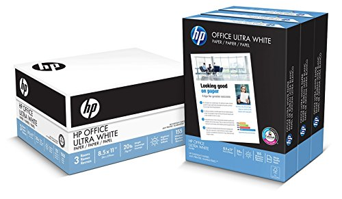 HP Printer Paper, Office20, 8.5 x 11, Letter, 92 Bright, 1,500 Sheets / 3 Ream Carton, (112090) Made in the USA