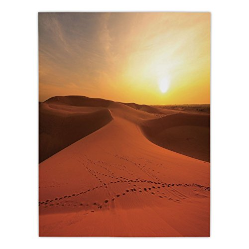 iPrint Satin Rectangular Tablecloth [ Desert,Footprints on Sand Dunes at Sunrise Hot Dubai Landscape Travel Destination,Dark Orange Yellow ] Dining Room Kitchen Table Cloth Cover
