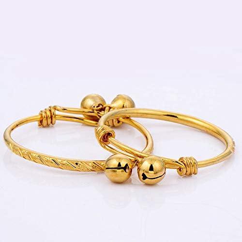 FidgetKute adjustable infant 24k gold filled 2 bells charms bangle kids bracelet