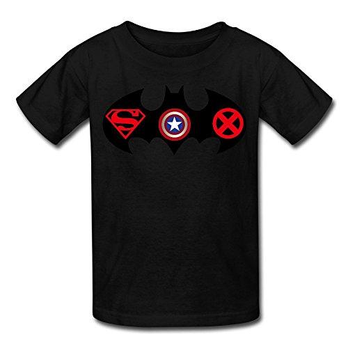 Price comparison product image Batman Superman Captain America X Men Logo Kid's Tee Black