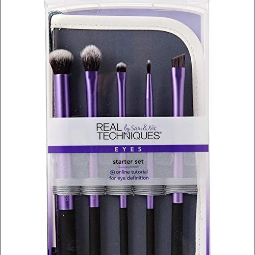 Real Techniques Starter Set Hand Cut Hair Design Makeup Brush Set, Includes: Deluxe Crease, Base Shadow, Accent, Fine Liner, and Accent Brushes and Brush Case/Stand