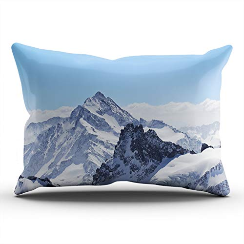 (WEINIYA Bedroom Custom Decor Beautiful Winter Landscape in The Matterhorn Throw Pillow Cover Elegant Design One Side Printed Patterning Lumbar 12x24 Inches)