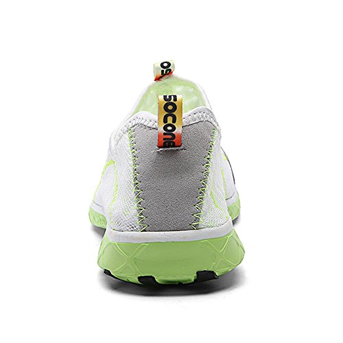 Footmat Mens Slip Sur Leau Chaussures Athletic Walking Chaussures Blanc Vert
