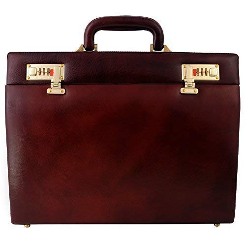 (Zint Genuine Leather Small Hard Briefcase Unisex Attache Case With Combination Locks)