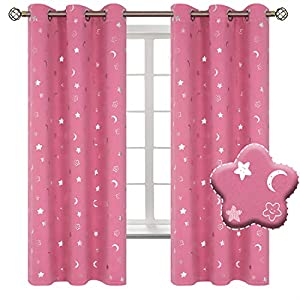 BGment Moon and Stars Blackout Curtains for Girls Bedroom, Grommet Thermal Insulated Room Darkening Printed Kids Curtains, 2 Panels of 42 x 63 Inch, Pink