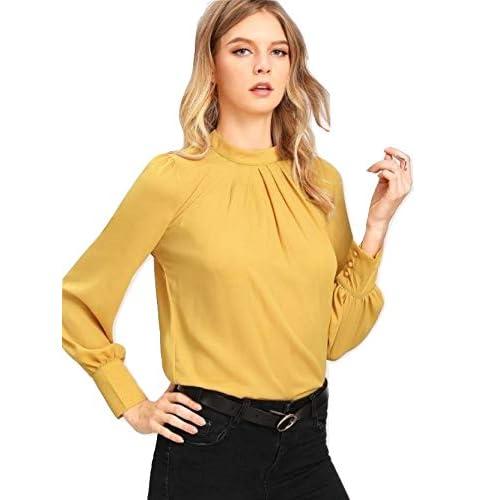 41%2BKqlRz1nL. SS500  - Alfa Fashion Party Solid Puffy Sleeve Self Design Women's Western Casual Top