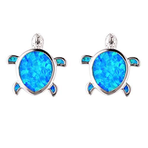 Hermosa Mom Gifts 925 Sterling Silver Sea Turtle Blue Opal Women Pendant Necklace Earrings (Earrings002)