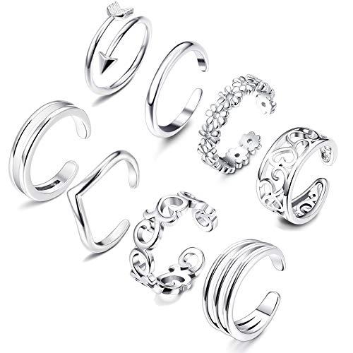 Besteel 8 Pcs Toe Rings for Women Girls Adjustable Open Toe Ring Gifts Jewelry Set