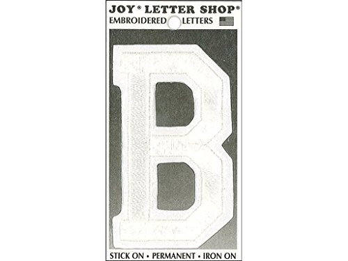 Joy JOY36002 Applique Letter Iron On Varsity White B, (Varsity Applique)