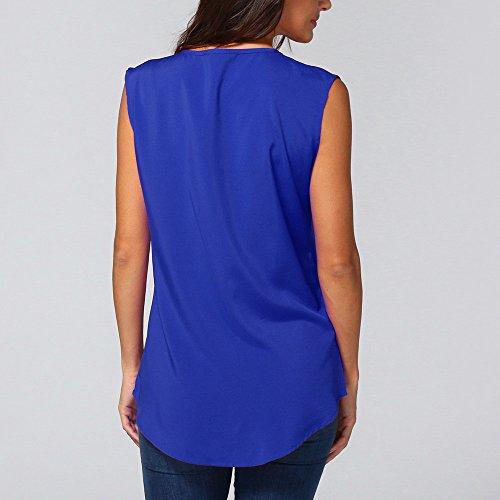 Sweat Hauts Blue1 Chemise Shirt Mousseline Blouse Fluide Kangrunmy Femme Longues Col Tunique Manteau Chemisier V T Sweatshirt Mode Manches Tops Casual Veste Chic qnqU78TZ