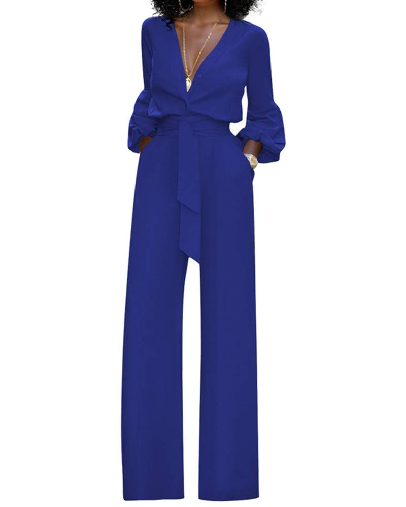 LSAME Women's Elegant V Neck High Waisted Rompers Jumpsuits with Belt Blue M by LSAME