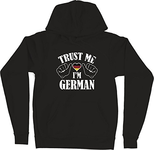 VectorPlanet Trust Me I'm German Unisex Hoodie, Black XXXL (Trust Me Im German)
