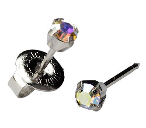 (Silver Ear Piercing Earrings 3mm Rainbow Crystal Stud Stainless Studex System 75 Hypoallergenic)