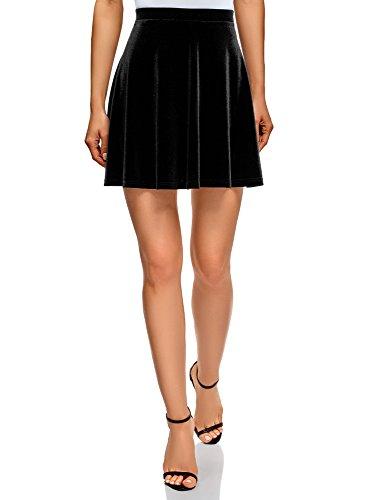 oodji Ultra Women's Flared Velvet Skirt, Black, 2