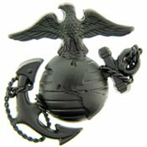US Marine Corps Emblem E3 Left Cap Subdued Black USMC Lapel Hat Pin (Cover Corp Marine)