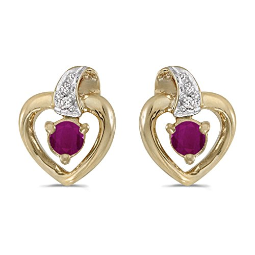 FB Jewels Solid 10k Yellow Gold Studs Genuine Red Birthstone Round Ruby And Diamond Heart Earrings (1/4 Cttw.) ()