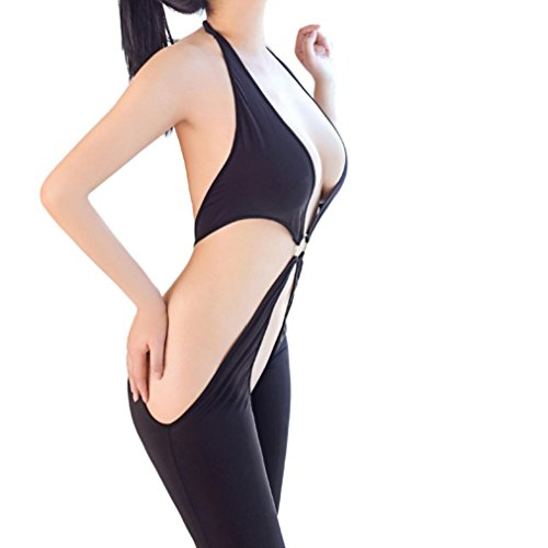 Womens Crotchless Bodystocking Lingerie Halter Neck Backless Bodysuits (Sexiest Christmas Costumes)