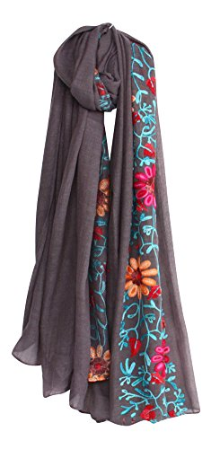 (LuluVin Women's Scarf Cotton Embroidered Lightweight Shawl Wrap (Dark)