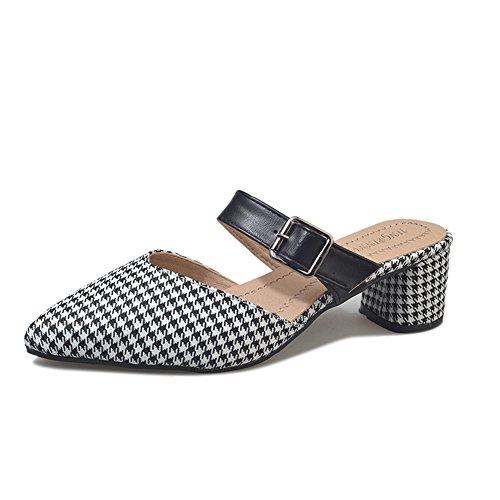 (Fashion Ankle Strap Kitten Heel Dress Sandal Mid Heel Open Toe Vegan Pumps(White 37/6.5 B(M) US Women) )