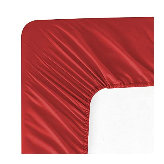 """WAVVA Bedding Luxury 3-Pcs Bed Sheets Set- 1800 Deep Pocket, Wrinkle & Fade Resistant (Twin, Ribbon Red) - Double brushed microfiber for ultra soft hand feel; Wrinkle resistant. Deep pocket fitted sheet with elastic all around (not just the corners), fits mattresses up to 14"""" Sheets set include 1 flat sheet, 1 fitted sheet and 2 pillowcases (Twin size only has 1 pillowcase). - sheet-sets, bedroom-sheets-comforters, bedroom - 41%2BKtUdYvNL. SS570  -"""