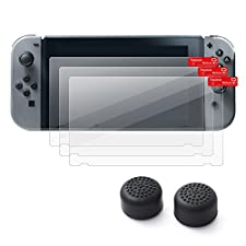 Insten [3-Pack] Nintendo Switch Screen Protector + [2-Pcs] Joy-Con Thumb Grip Stick Caps [Anti-Slip/Protective] For Nintendo Switch Joy Con Controller Thumb Grip [2017 New Release], Black Style 1