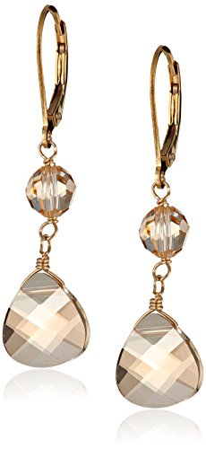 Swarovski Elements Golden Shadow Briolette with Gold over Sterling Silver Lever Back Drop Earrings