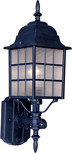 Maxim 1050BK North Church 1-Light Outdoor Wall Lantern, Black Finish, Clear Glass, MB Incandescent Incandescent Bulb , 100W Max., Dry Safety Rating, Standard Dimmable, Glass Shade Material, 5750 Rated Lumens by Maxim Lighting