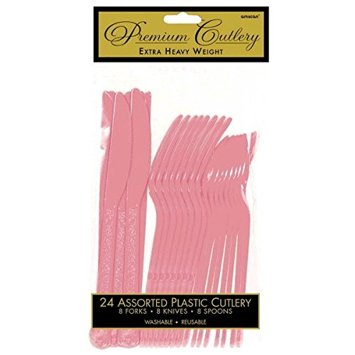 (Heavy Duty Party Cutlery Set Tableware, Pretty Pink, Plastic , Full Size, Pack of)