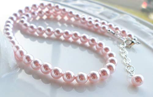 (Pink Swarovski Pearl Wedding Necklace Light Pink)