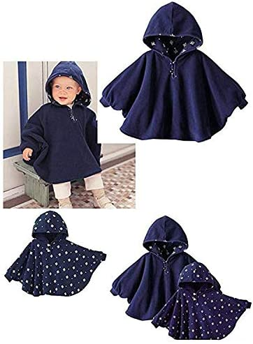 TSWRK Babys Double-Side Wear Cape Coat Snowsuit Warm Poncho for Girls Boys Toddlers 0-3Years