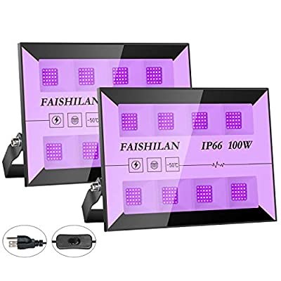 FAISHILAN 2 Pack 100W UV Led Black Light, IP66 Waterproof Ultraviolet Outdoor Flood Light with Plug for Blacklight Dance Party, Stage Lighting, Glow in The Dark, Aquarium, Body Paint, Fluorescent Post