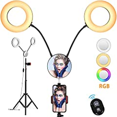 Double Dimmable LED Ring Lights, Better Illumination Uniformity: No color filter needed. Each 10W selfie ring lights with stand for phone is with 6 lighting modes (white/warm white/yellow) and hundreds of brightness levels, of 2700K to 6000K ...