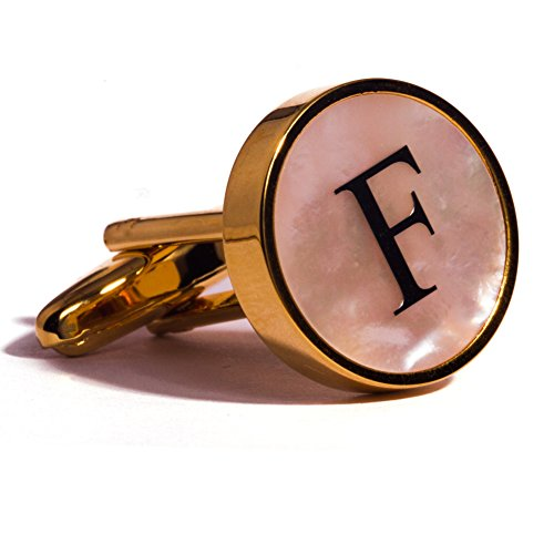 Digabi Initial Letter Cufflinks 18K Gold Plated Mother of Pearl F