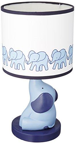 Lambs & Ivy Indigo Elephant Lamp with Shade and Bulb, Blue/White