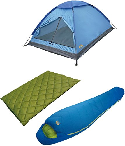 Alpinizmo High Peak USA Florida Sleeping Bags & 3 Monodome Combo Tent, Green/Blue, One Size -