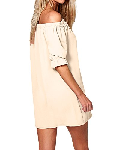 Nuovo Abito Top Donna Beige Vestito Manica Lunga Elegante T Casual StyleDome Maglietta Corto shirt zXAnqx