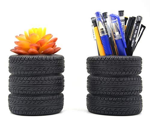 (Tire Shape Pen Holder Pencil Holder Home Office Desk Organizer Accessories Pack of 2)