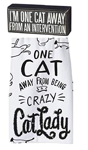 (Primitives by Kathy Cat Lady Intervention Kitchen 2 Piece Decor Set)