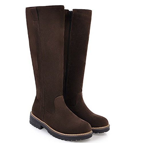 KemeKiss Brown 5 Boots Women Long Zipper xqTUCzxwF