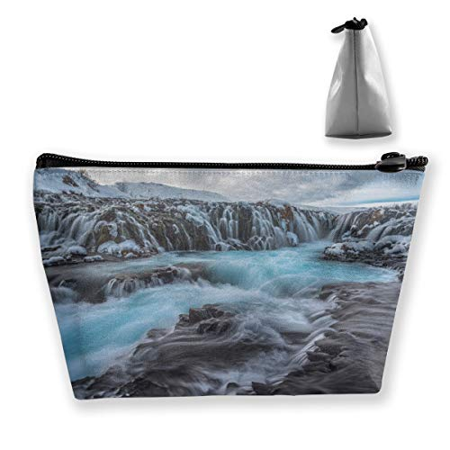 Trapezoidal Cosmetic Bags Makeup Toiletry Pouch Waterfall Snow Print Travel Storage Bag Phone Purse ()