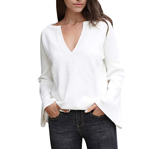 Qingell Women's Off Shoulder Batwing Sleeve Loose Oversized Pullover Sweater Knit Jumper White