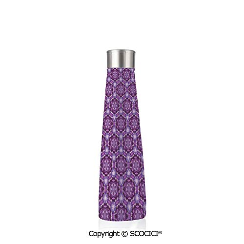 (Double Wall Stainless Steel Travel Mug Insulated 17.5 oz / 500ml Mauve Decor Fractal Primitive Mosaic Style Inspired Abstract Trippy Unusual Shapes,Dark Purple Violet)