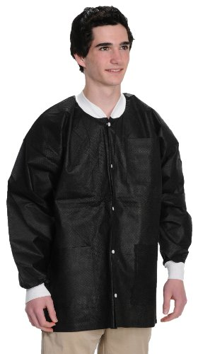 ValuMax 3630BKM Extra-Safe, Wrinkle-Free, Noble Looking Disposable SMS Hip Length Jacket, Black, M, Pack of 10 by Valumax